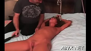Savory lady is masturbating after dinner