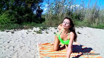 Perfect babe fuck on public beach without any problem with stranger 30 min