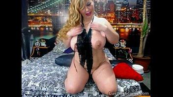 Busty blonde MILF teasing on webcam
