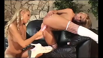 Nice tits blonde lesbo duo Sue Diamond and Katie Gold on couch finger fucking each other's snatch