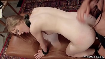 Lesbian gets spanked and anal pounded