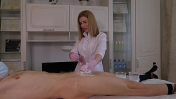 While learning how to shave, the man powerfully cum all over the place