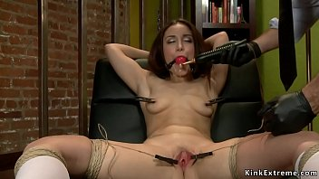 Gaping ass brunette gets asshole toyed