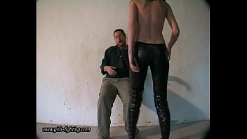 Diy kick ass clothing Girl in leather pants kick a guy 01