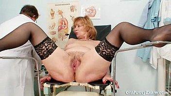 Elder hairy woman - Redhead granny dirty pussy stretching in gyn clinic