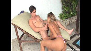 Horny Latina Juliana Gomes giving a good bj