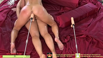 Two babes Squirt as they get Fucked by Sex machines