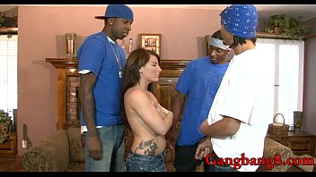 Teen slut banged by many big black cocks on the couch