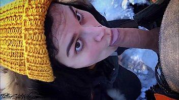 Brunette Public Blowjob Dick Stranger and Cum in Mouth - Hidden Camera