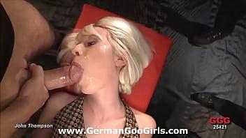 Beautiful Blonde Cora Slut Used in Gangbang Bukkake thumbnail