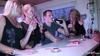 Party Reverse Group Sex from 3 German MILFs with Young Guy 10 min