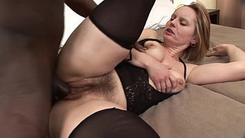 Mature big hairy pussy gets rammed by a big black cock