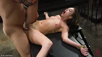 Gagged brunette whipped then fucked