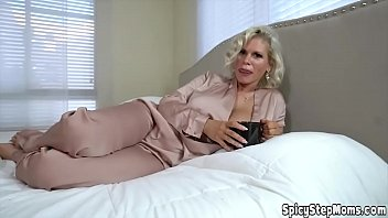 Blonde stepmother with curly hair pov style blowjob