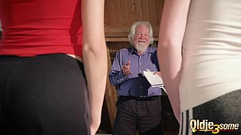 Kiara and Mia both fuck an old man and share his cum after a hot fuck 6 min
