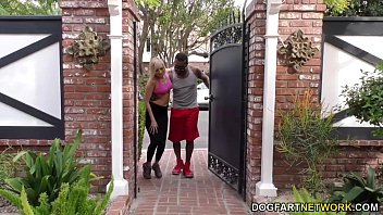 Black basketball fucks a blonde with a small pussy