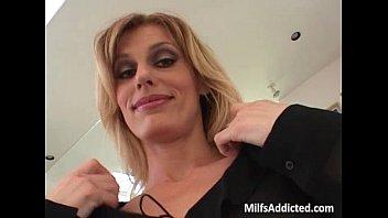 Incredible blonde MILF blows hard dick