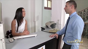 Very tight brunette quickie office fuck with her Boss
