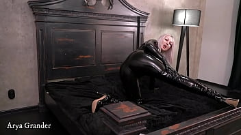 Tight shiny latex rubber catsuit Arya Grander free fetish video teasing by buttocks and curves best girl