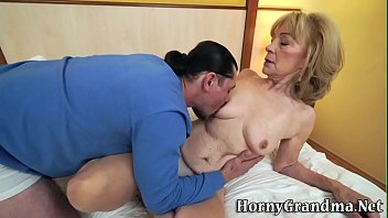 Granny gets pussy plowed and spermed