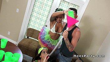 Sexy Latina amateurs banged at party pov