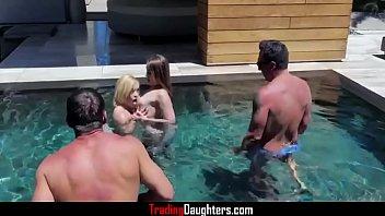 Steamy Daughter Pool Sex- Katie Kush & Kenzie Madison thumbnail
