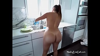 Naked Maid Julianna Vega Lets Boss Jerk Off To Her