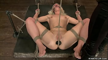 Tied blonde lesbian butt plugged