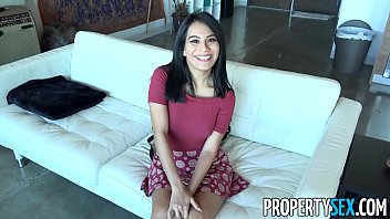 PropertySex - Horny couch surfing woman takes advantage of male host