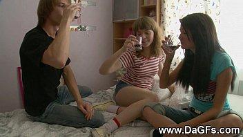 Harcore threesome with schoolgirls 5 min