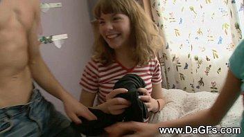 Harcore threesome with schoolgirls