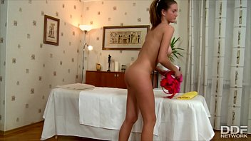 Happy ending massage makes Faina cum real hard after intense pussy banging 11 min