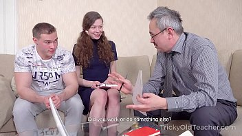Tricky Old Teacher - Babe comes to study but gets a double fuck 8 min