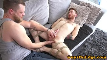 Gay hook up trends sub-culture - Ginger bounded sub tugged and toyed by dom