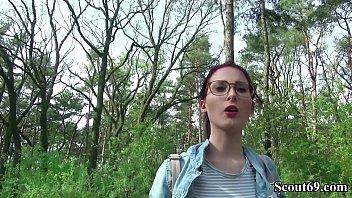 German Scout - College Redhead Teen Lia in Public Casting 12 min