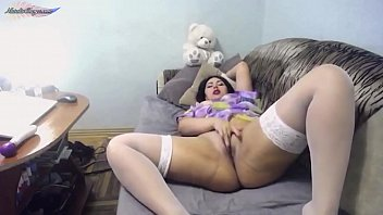 Babe In Purple Suit Orgasm With Purple Vibrator