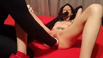 Slut Lucy Ravenblood smokes a ciagrette while getting a hard fistfucking