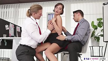 Bisexual office studs trio with busty babe image