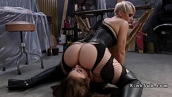 Dominatrix mistress strap on dildo - Blonde mistress spanked brunette sub