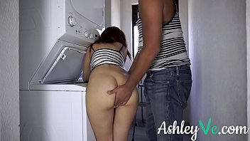 HELPLESS STEP SISTER STUCK IN WASHING MACHINE GETS FUCKED AND CUM ON TITS - ASHLEY VE Image