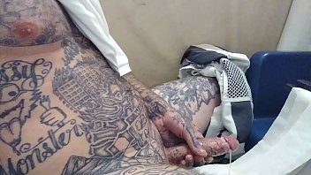 I was missing my girlfriend and had to go stroke this big tattd up White dick pt. 2 (cumshot)