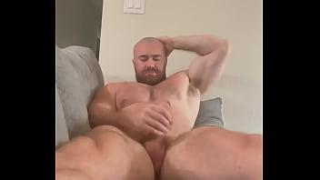 Massive Musclebear Jerks Huge Cock Shoots Giant Load HOT Part 1 Alpha Hairy Bodybuilder Sexy Cumshot