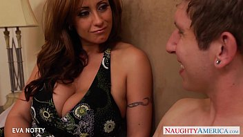 Brunette with tits Tattooed milf eva notty take a big young cock