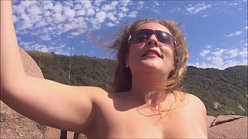 a demon in the paradise of Brazil - young latina wife naked exhibitionist on public beaches in santa catarina - complete on RED صورة