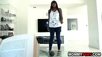 Busty ebony step mom sucks son
