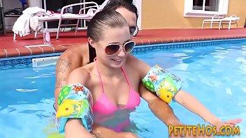 Little amateur riding swim instructors cock outdoors