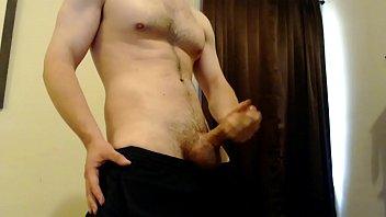 Male jock strokes his big dick to cumshot...