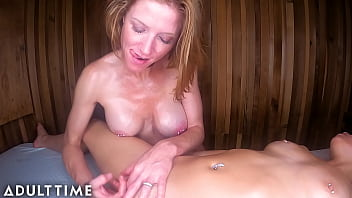ADULT TIME – POV Sexy Polyamorous Babes Give Each Other HOT Sauna Massages