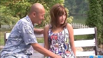 Aika goes naughty in outdoor along a horny male thumbnail