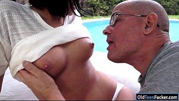 Grandpa sucks my tit movie Coco demal sucking a grandpa in the garden before riding him